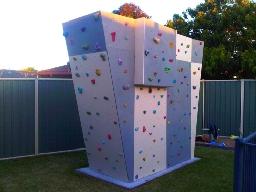 3m high bouldering wall limit was 3m to avoid need for a building permit built in modules based on the size of the ply sheets concrete slab with anchor